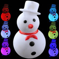 New Year Lovely Christmas Snowman Shaped Color Changing LED Desktop Small Night Lamp with Red Bow Tie(White)