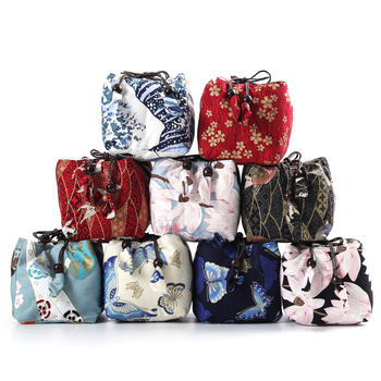 Square Bottom Thicken Linen Printed Cloth Bags Travel Drawstring Jewelry Pouch Portable Small Tea Cup Set Storage