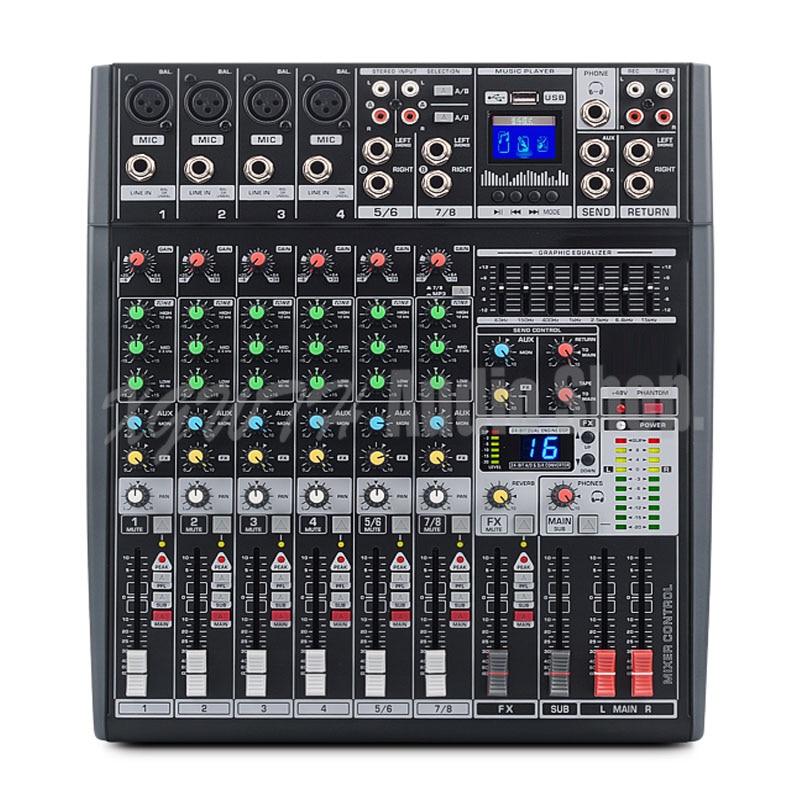 8 Kanal Mixer 16 Digitalen Reverb Effekte Sieben Band Equalizer Mischen Konsole Mit Usb Professionelle Audiogeräte 48 V Phantom Power In Vielen Stilen