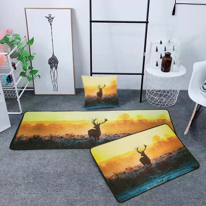 Us 10 53 38 Off Sunset Animal Door Mat Washable Kitchen Area Rugs Carpets For Home Living Room Reindeer Stairs Hallway Bedroom Wc Bath Mats In