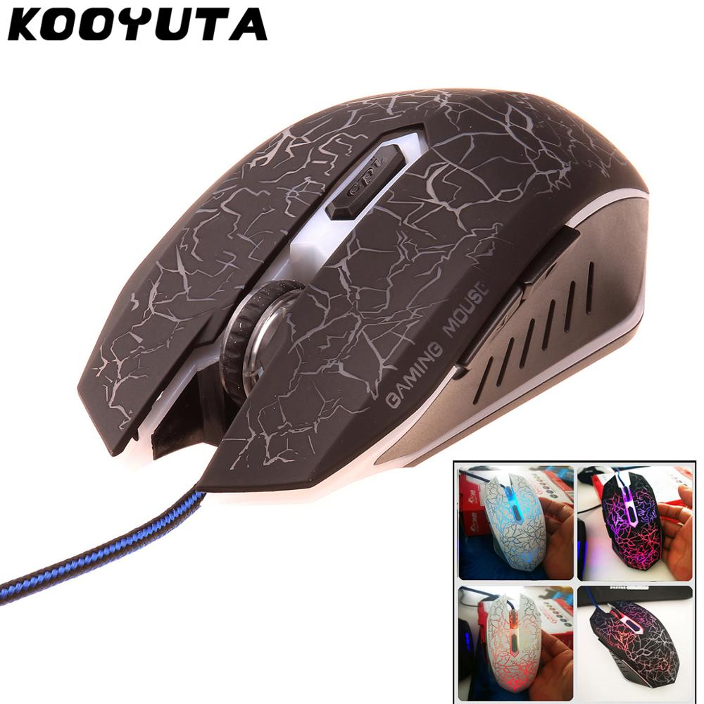 6 Buttons KOOYUTA USB Wired Luminous Gamer Computer Gaming Mouse 4800DPI LED Small Special 3D Shaped Computer Gamer Mouse