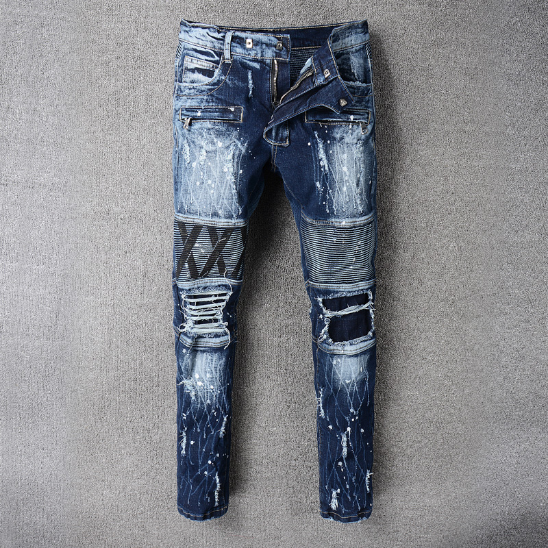 High Street Fashion Classical Men Jeans Motorcycle Pants Blue Color Destroyed Biker Jeans Homme Balplein Brand Ripped Jeans Men dsel brand ripped jeans for men blue color hot sale button fly classical design mens denim jeans homme 964