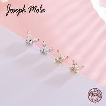 Joseph Mola 925 Sterling Silver Cute Small Butterfly Cubic Zirconia Stud Earrings For Women korean Style Fashion jewelry