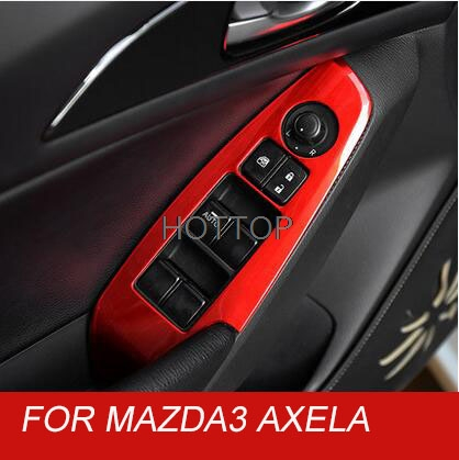 For Mazda 3 AXELA 2014 2017 Door Window glass panel Armrest Lift Switch Button cover trim molding stainless steel Car styling