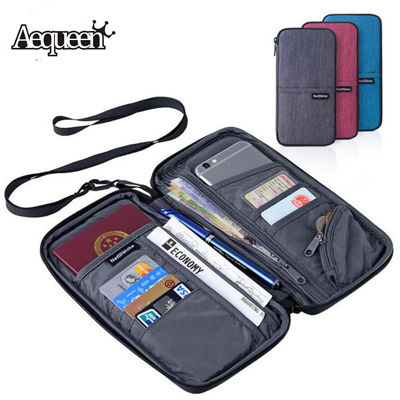 AEQUEEN Women Men Travel Document Holder Wallet Purse Passport Bag Cover Case Phone Pouch Bank Credit Card ID Organizer Pocket travel bag wallet purse document organizer zipped passport tickets id holder new