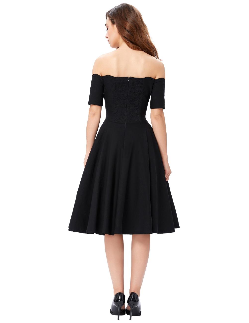 Belle Poque 17 Women Dress Robe Vintage Off Shoulder Black Summer Dress Jurken 1950s 60s Retro Rockabilly Swing Party Dresses 8