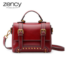 Zency New Model Women Tote Bag 100% Genuine Leather Handbag Brown Fashion  Lady Messenger Purse e1a6f543273a