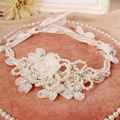 Fashion Handmade Ivory Lace Flower Bridal Headband Pearl Wedding Hair Tiara Accessories Crystal Women Headpiece