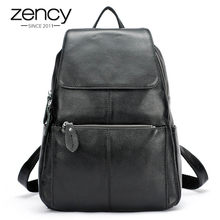 Zency Fashion Color 100% Genuine Leather Casual Women s Backpacks Casual Travel  Knapsack Laptop Bag Ladies aed6e4d03310b