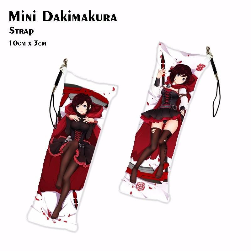 Game RWBY Mini Dakimakura Anime Pendant Keychain Ruby Rose/Weiss Schnee/Yang Xiao Long/Blake Belladonna Bag Charm Car Key Ring