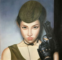 100%Hand Painted Figure Oil Painting on Canvas Sexy Girl With a Gun Canvas Painting Wall Art Picture Painting for Living Room