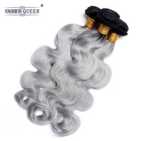 Fashion Queen Hair Ombre Peruvian Hair Bundles 1B/Grey Remy Body Wave Hair Bundles Human Hair Weave Bundles 3PC Extension