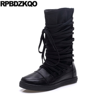 Genuine Leather Autumn Size 4 Flat Black Harajuku Shoes Lace Up Wide Calf Mid Canvas Women Boots Winter 2017 Vintage Chinese New