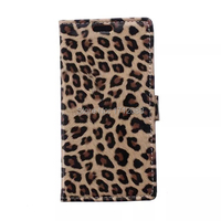 Panther Print Leopard Print Leather Case Wallet Card Stand Case For Sony E4
