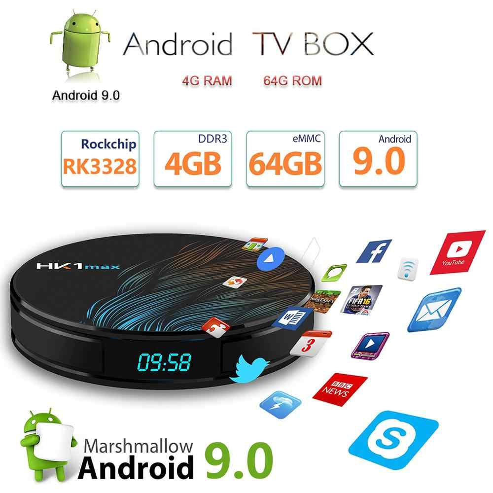 HK1 MAX Android TV Box 4 K Smart Box Android 9.0 4G 64G RK3328 Quad-Core IPTV 2.4G/5G WiFi BT5.0 lecteur multimédia Google Assistant