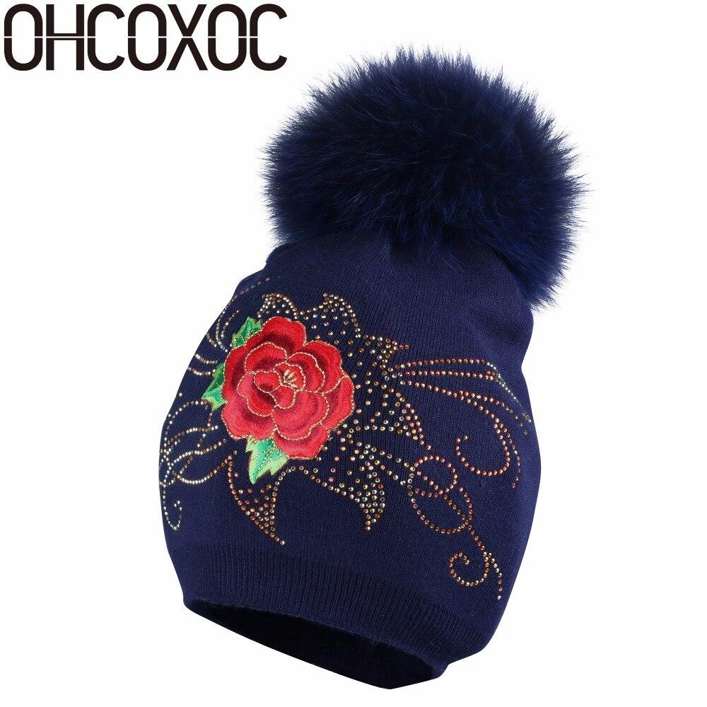OHCOXOC New Women   Beanies   Real Fox Fur Pom Poms Ball Cap Keep Warm   Beanies     Skullies   Rhinestone floral beauty winter hats