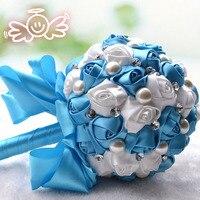 Handmade DIA 20 cm Kryształ Perła Z Ribbon Wedding Bridal Drużki Narzeczona Gospodarstwa Bukiet Dekoracji Domu Kwiat Róży Satyna