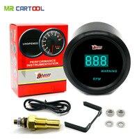 Evrensel 52mm Siyah Kabuk ve Mavi LED aydınlatmalı Dijital Takometre Ölçer 0-9999 RPM Otomatik Ölçer Ücretsiz kargo