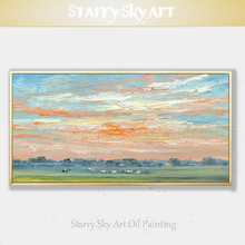 Cheap Price Hand-painted Wall Art Beautiful Sky Landscape Oil Painting on Canvas Bright for Living Room Decor