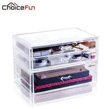 Choicefun DIY 3 Слои ящика прозрачный пластиковый рабочего Коробка для хранения ювелирных изделий Организатор Шкафы для Макияж офисные SF-2179-12