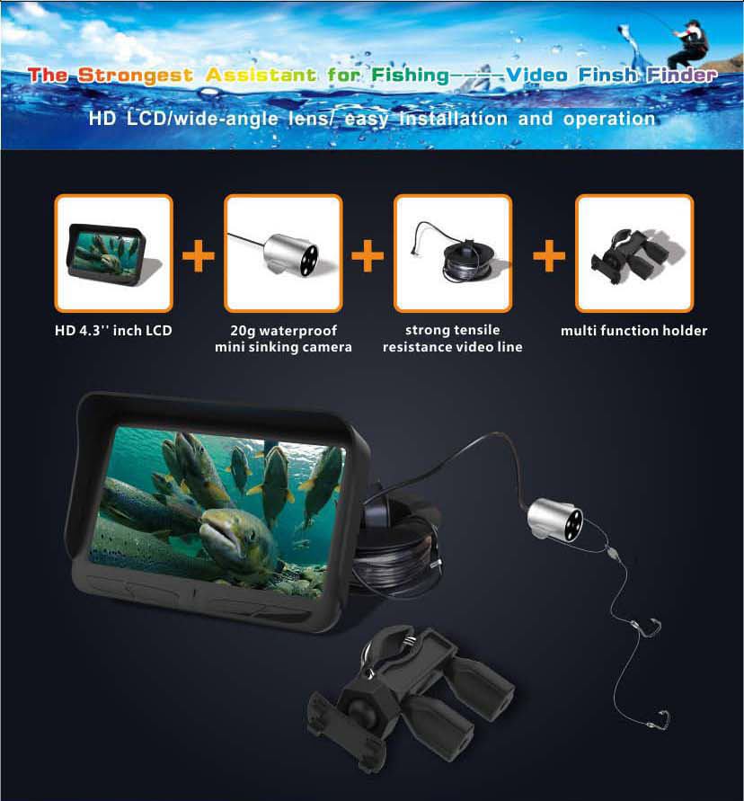 HD Underwater Video Fish Finder with 30M 2MP Fishing Camera & 4.3 LCD Monitor 4000mAh Battery Built-in Multi-Language Supported_7