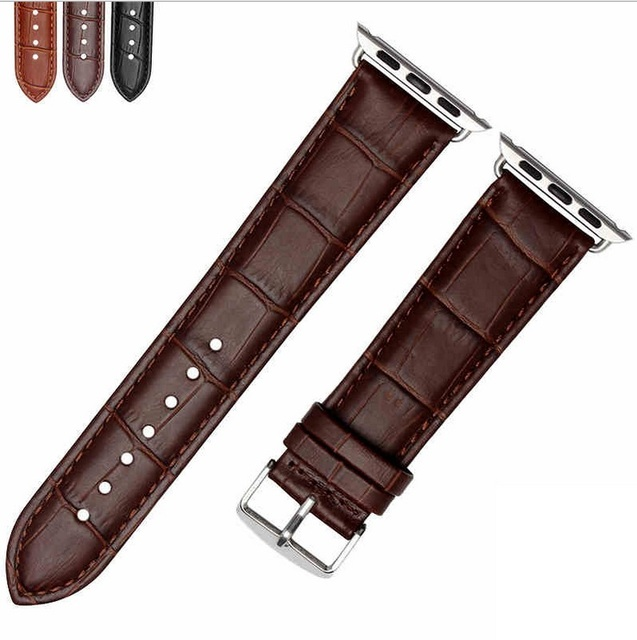 GOOSUU Genuine Leather Buckle Wrist Strap Band Belt for iWatch Apple Watch 38mm 42mm Watchband For iwatch with Connector