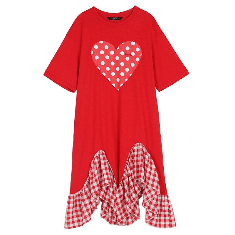 2019 printemps et été décontracté plissé T-shirt en forme de coeur Point treillis robe douce volants robe à manches courtes