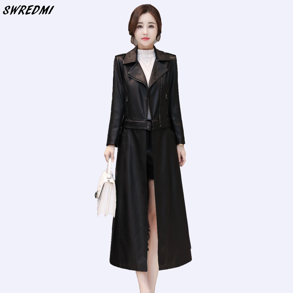 SWREDMI Women X-Long   Leather   Trench Outwear Female   Leather   Clothing High Quality Two Style Can Wear   Leather   Coat Plus Size S-3XL