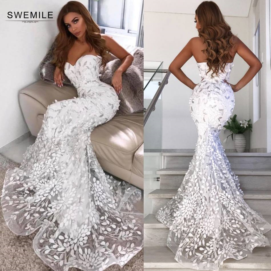 2019 Sexy Sweetheart Mermaid Prom Dresses Long Elegant Empire Strapless Prom Gown Sweep Train Party Dress Vestidos De Gala