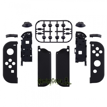 Custom Soft Touch Grip Black Controller Housing w/ Full Set Buttons DIY Replacement Shell Case for Nintendo Switch Joy-Con CP310