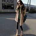 2016 новый сексуальный мода леопарда шубу женщин зима теплая пальто о-образным вырезом воротник толщиной Большой размер верхняя одежда H037