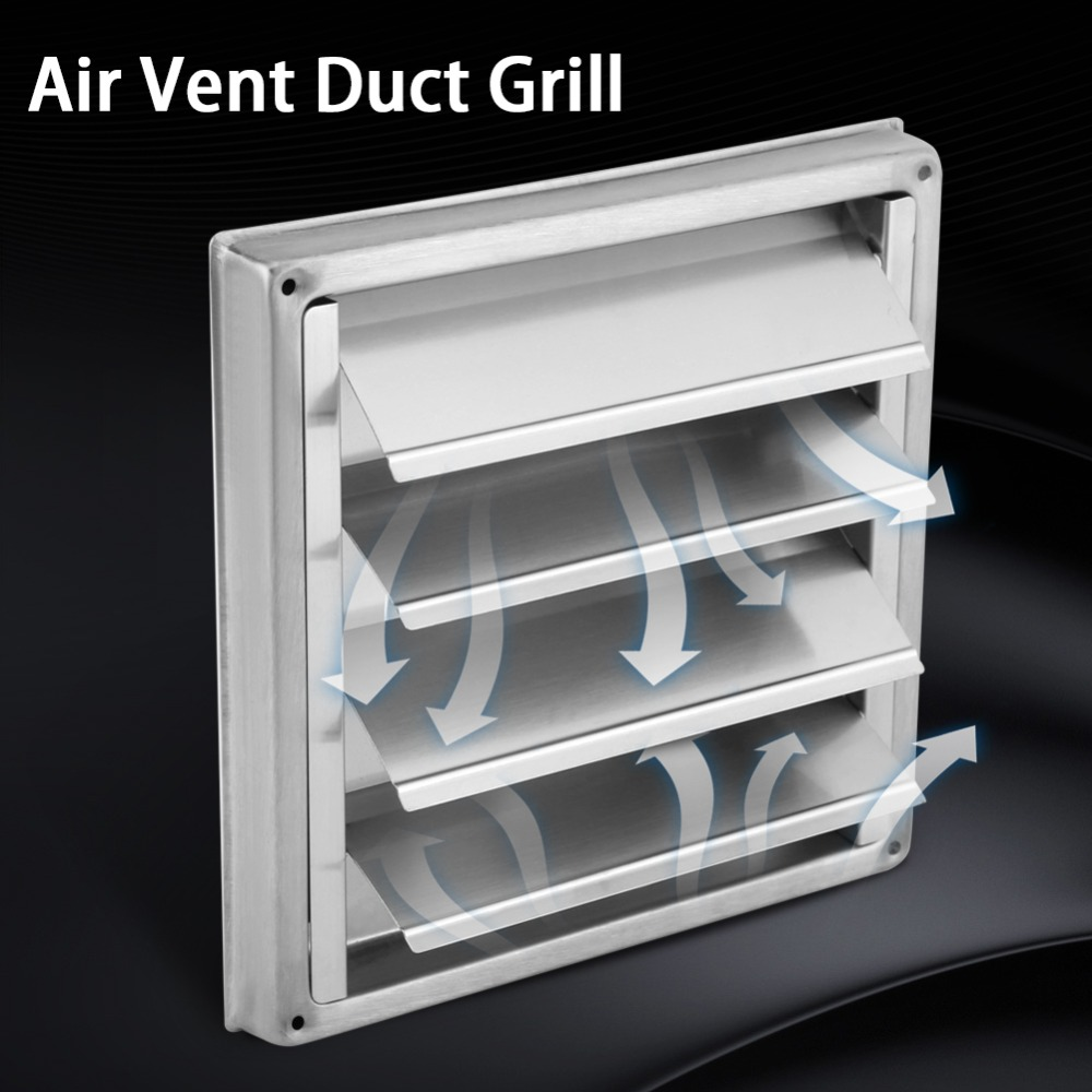 Air-Vent Extractor Fan Outlet Duct-Grill Dryer Tumble Stainless-Steel 100mm Square