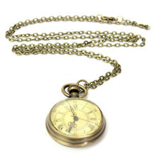 Antique Vintage Bronze Glass Steampunk Pocket Watch Chain Necklace Retro Watch Pendant Necklace Gifts Jewelry Accessories fashion cute girl picture pocket watch with necklace pendant clock chain jewelry gifts lxh