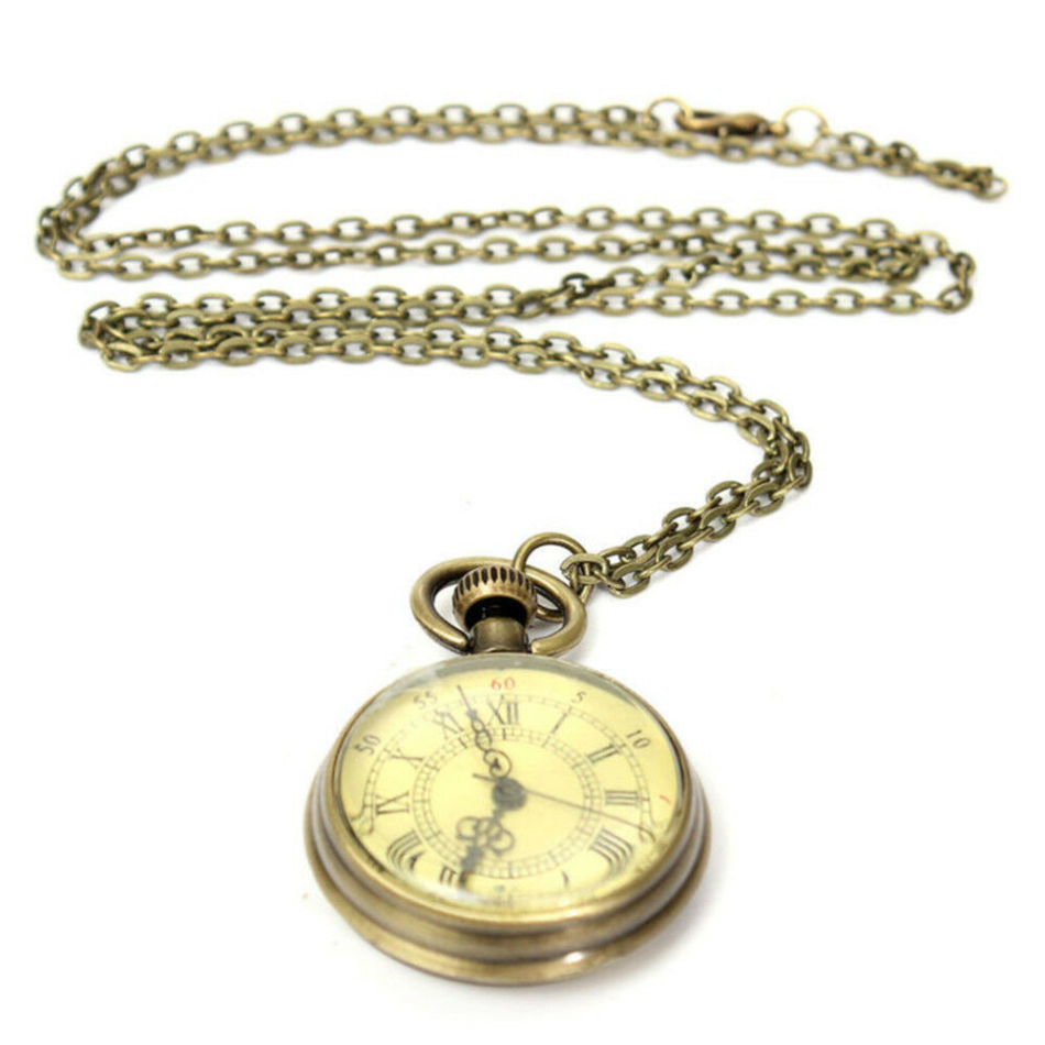 Antique Vintage Bronze Glass Steampunk Pocket Watch Chain Necklace Retro Watch Pendant Necklace Gifts Jewelry Accessories