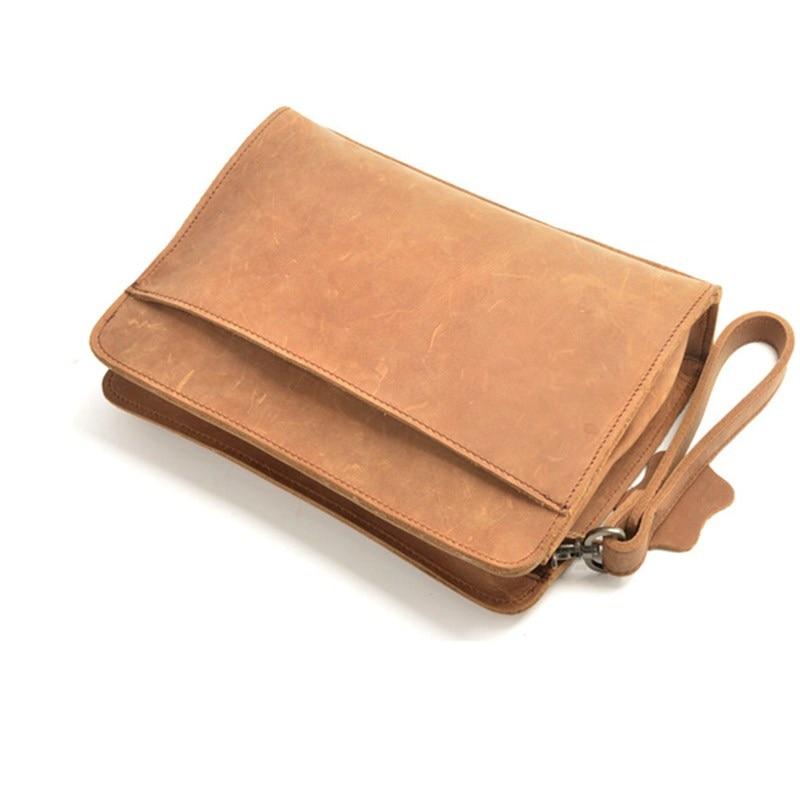100% Echtem Leder Männer Business Taschen Brieftasche Handy Fall Zigarette Geldbörse Beutel Erste Schicht Rindsleder Männlichen Handliche Tasche Ausgezeichnet Im Kisseneffekt
