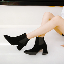 Fashion Round Toe Martin Boots Women Winter Elastic Band Solid Color Shoes Female Party Square Heel Ankle Boots Mid Heels стоимость