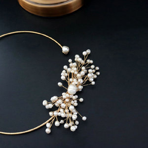 Image 4 - SINZRY original design handmade natural freshwater pearl snowflake chokers necklace band for Women dress bridal jewelry Gift