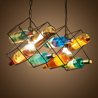 Nordic Retro Glass Bottles Chandelier Fixture Lighting E27 Bulb Simple Vintage Metal Hanging Lamp For Restaurant Bar Shop PL560