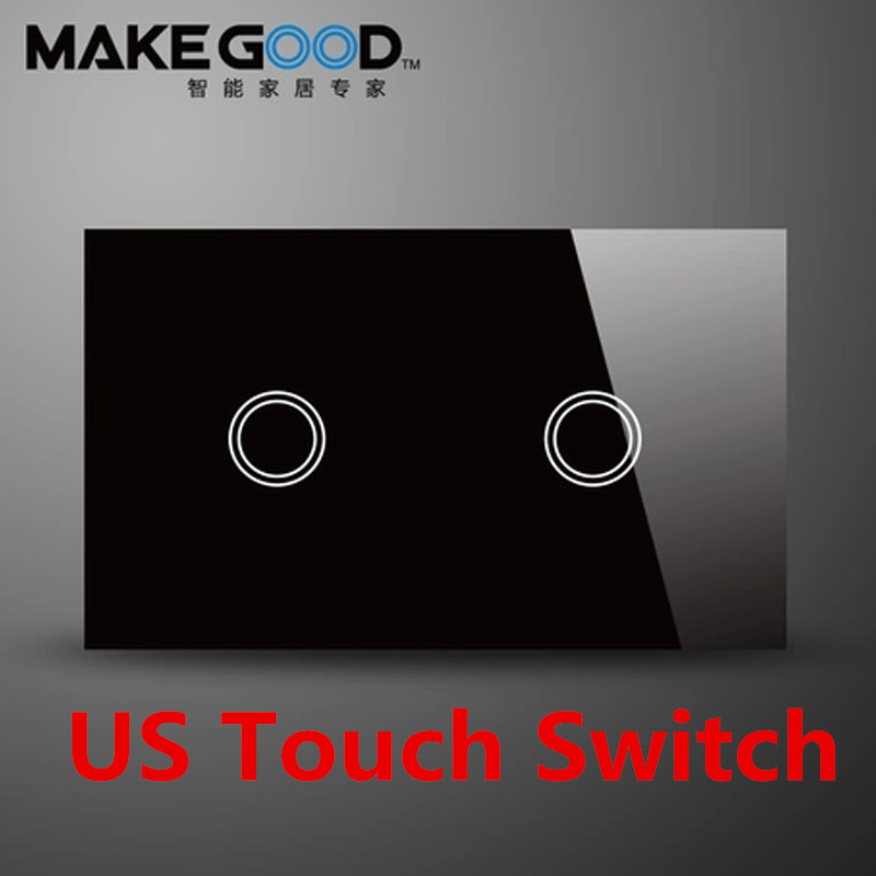MakeGood US Standard Touch wall switch 2 gang 1 way, black and white crystal glass screen touch light switch AC 110-240V 6A makegood uk standard smart home crystal glass cover touch screen wall switch 3 gang 1 way 86 86mm ac 110 250v 1000w for light