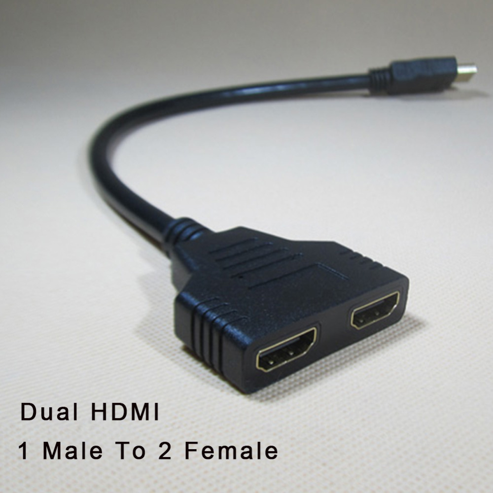 New Arrival Cable HDMI splitter cable 1 Male To Dual HDMI 2 Female Y Splitter Adapter in HDMI HD LED LCD TV 30cm
