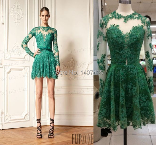 Emerald Green Prom Dress with Sleeves_Prom Dresses_dressesss