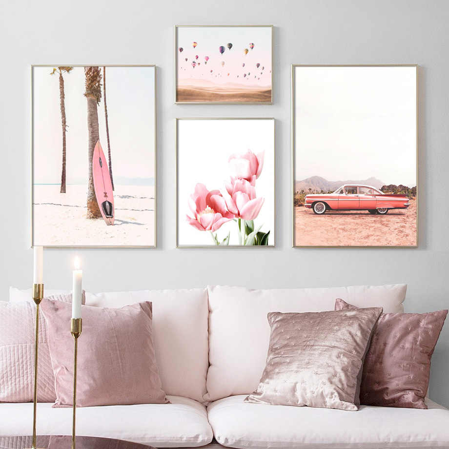 Pink Beach Car Fire Balloon Tulip Flower Wall Art Canvas Painting Nordic Posters And Prints Wall Pictures For Living Room Decor