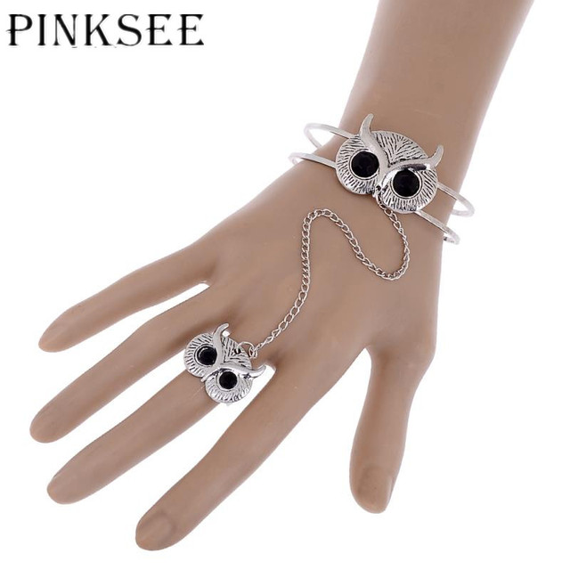 Vintage Silver Plated Owl Finger Ring Hand Chain Harness Slave Chains Bracelet Punk Style Bangles For