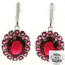 9.5g Real 925 Solid Sterling Silver Deluxe Top Pink Raspberry Rhodolite Garnet CZ Engagement Earrings 40x19mm