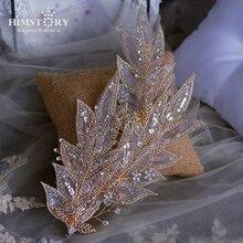 HIMSTORY Handmade Retro European Style Feather Bridal Barrette Tiaras Romantic Headbands Crystal Beaded Wedding Hair Accessory