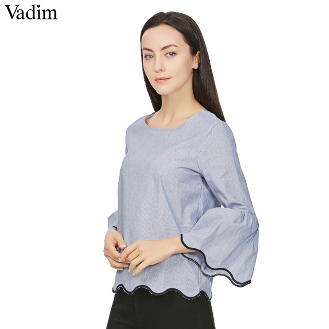 080ab16309e2d Women hem wave embroidery loose shirt three quarter flare sleeve blue o  neck blouses female casual streetwear tops blusas LT1664