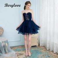 BeryLove Short Navy Blue Homecoming Dresses 2018 Mini Beaded Strapless Homecoming Dress Short Prom Dresses Graduation