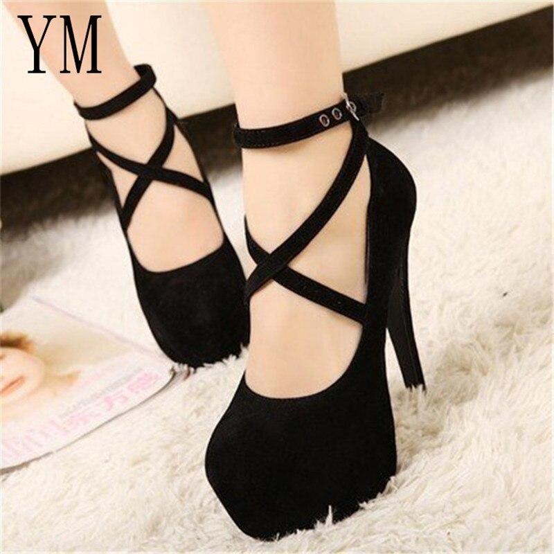 Shoes Woman Pumps Platform-Dress Ankle-Strap Cross-Tied Wedding Suede High-Heels Big