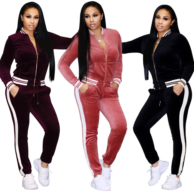 3XL Velvet Tracksuit Women Costume Velvet Striped Set Long Sleeve Zipper Tops+Pant Velour Tracksuit Sets for Women Sporting Suit