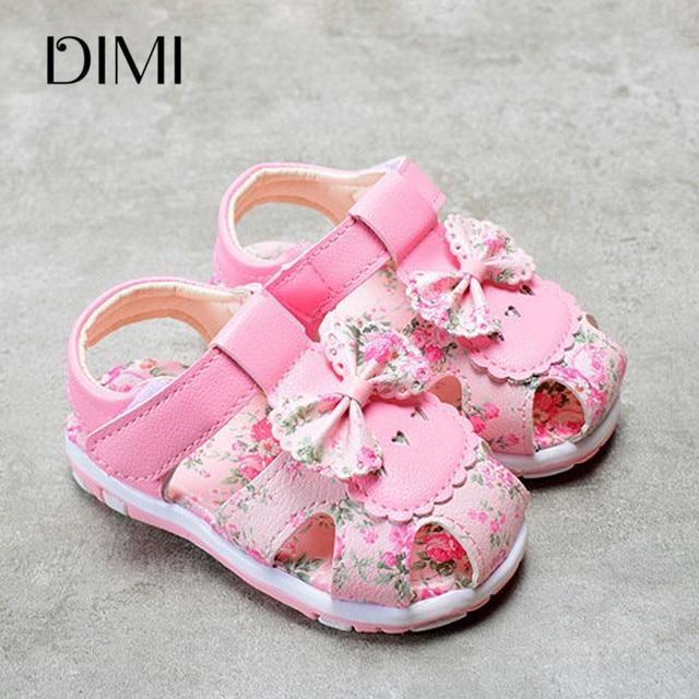 דימי 2019 קיץ בנות סנדלי נוח רך עור מפוצל ילדה קטנה קשת נסיכת נעלי ילדי פרחים חמוד לילדה